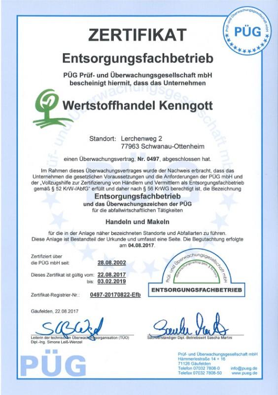 Wertstoffhandel Kenngott | Zertifikat